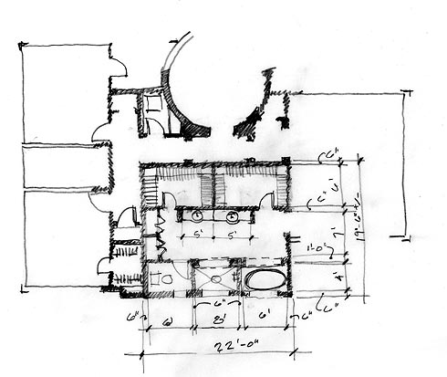 Maliby Architecture Project - bathroom design sketch
